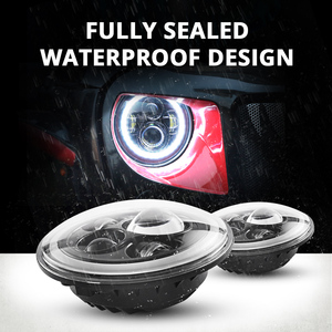 "Image 4 - Partol 7"" LED Headlights 60W High Low Beam LED H4 Halo Angel Eye DRL Amber Turn Signal for Jeep Wrangler JK TJ Land Rover Harley"