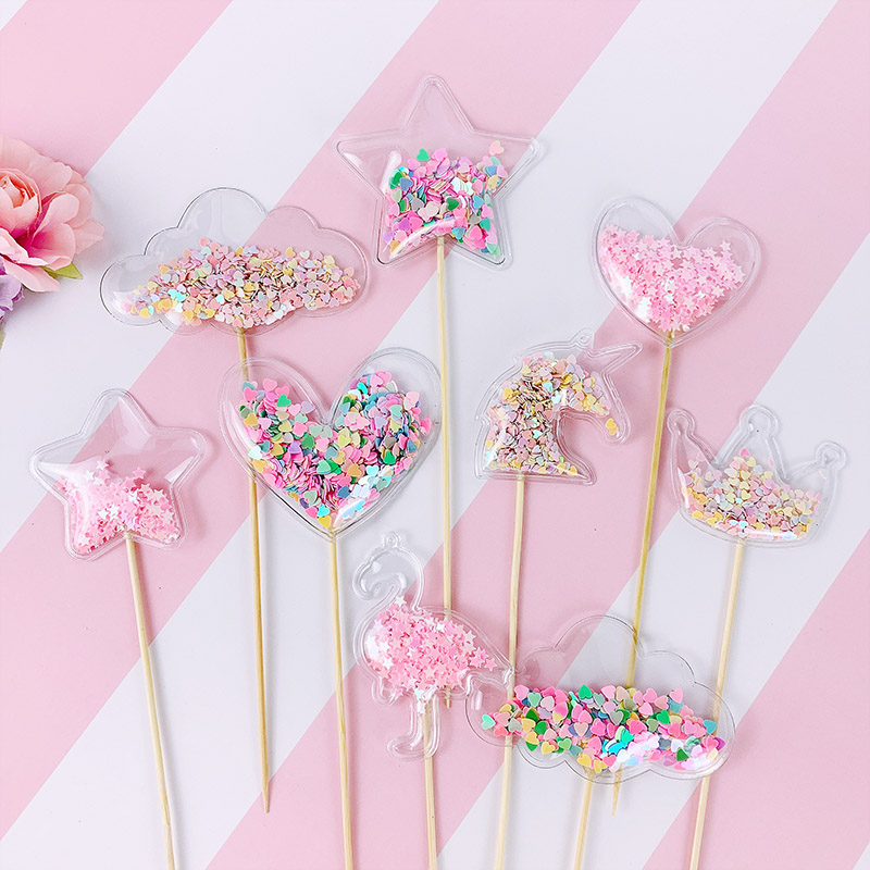 3Pcs Transparent Sequin Cake Topper Baby Shower Birthday DIY Cake Top Flags Decoration Cupcake Topper Mermaid Party Supplies