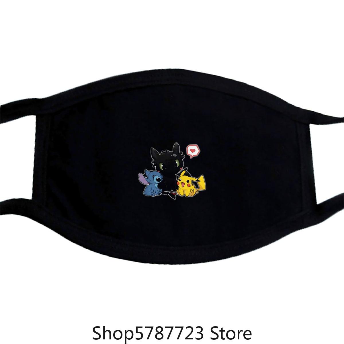 Stitch Night Fury And Pikachu Friendship Mask