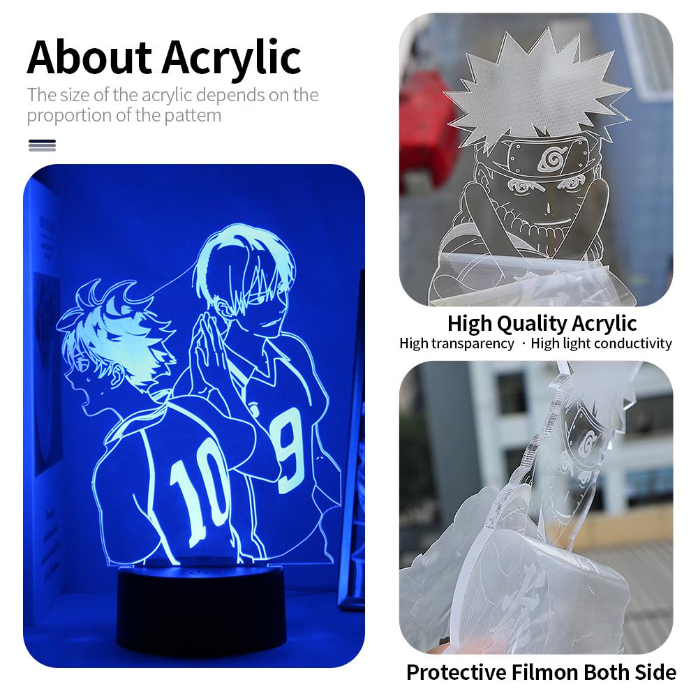 Anime Haikyuu Acrylic Led Night Light Shoyo Hinata Figure for Kids Bedroom Decor Nightlight Manga Cool Gift Child 3D Table Lamp