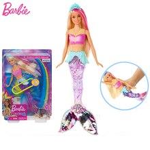 Originale Marchio Barbie Bambola Della Sirena Caratteristica Arcobaleno Luci Bambola Delle Ragazze Giocattoli Per Chilren UN Regalo Regalo di Compleanno Boneca