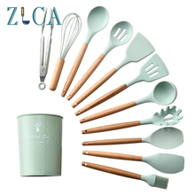 ZLCA 9/10/12pcs Cooking Tools Set Premium Silicone Kitchen Utensils with Storage Box Turner Tongs Spatula Soup Spoon