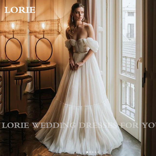 LORIE Boho Off the Shoulder Dot Tulle Floor Length Wedding Dress With Sleeves Elegant Tea Length Bride Gown For Party Reception 3