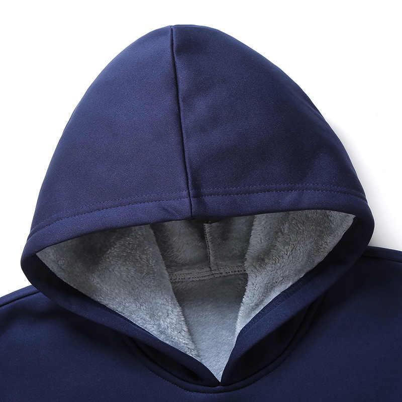 Inverno marca conjuntos de homens forro de lã quente agasalho moletom com capuz masculino calças compridas conjuntos casuais elástico tamanho grande M-4XL preto