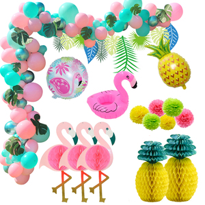 1set Hawaiian Party Decoration Flamingo Pineapple Turtle Leaf Balloon Arch Luo Party Beach Summer Tropical Birthday Decoration(China)
