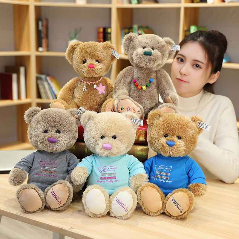 New Hot High Quality Couple Teddy Bear With Cloth Plush Toys Dolls Stuffed Toy Kids Baby Children Girl Birthday Christmas Gift