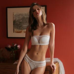 Image 2 - Munllure סקסי תחרה חולצת סטרפלס אין חישוקים תחתוני נשים סטרפלס חזיית שמלת חתונה נאסף חזיית סט