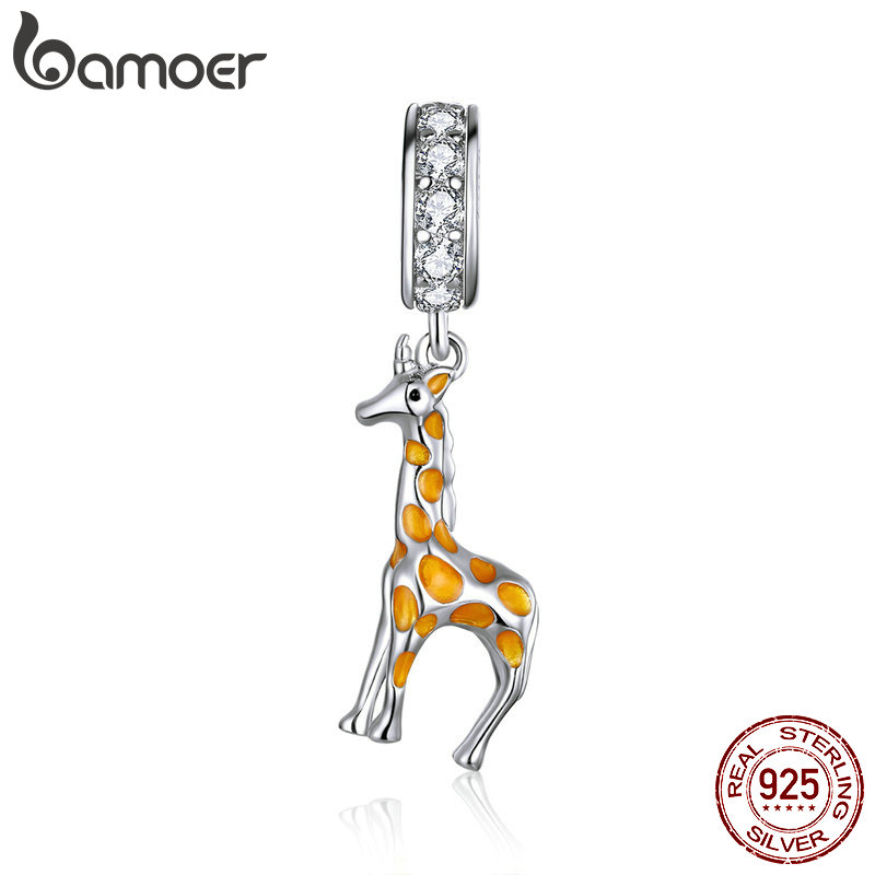 Bamoer 925 Sterling Silver Yellow Enamel Giraffe Pendant Charm For Original Silver Bracelet Bangle Jewelry Making BSC258