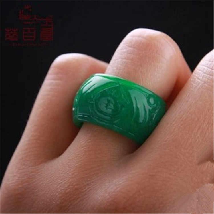 สีเขียวธรรมชาติเครื่องประดับอัญมณีวงแหวนหยกหยกหินสำหรับผู้หญิงผู้ชายเครื่องประดับมรกตหมั้นแหวนมรกต