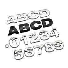 3d metal alphabet silver badge chrome letters numbers logo car