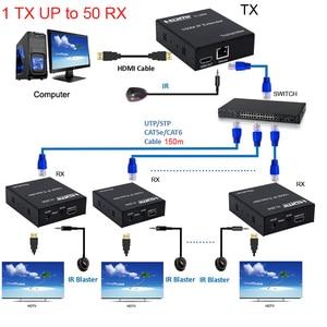 Image 1 - 150M HDMI IP Extender ผ่าน RJ45 Ethernet เครือข่าย Cat6 CAT 6 6A สายเคเบิลรองรับ 1 TX 50 RX ตัวรับสัญญาณ IR UTP/STP