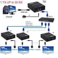 150M HDMI IP Extender Via RJ45 Ethernet réseau Cat6 Cat 6 6a câble rallonge Support 1 TX 50 RX émetteur récepteur IR UTP/STP