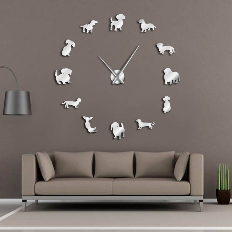 3D DIY Acrylic Wall Clock Art Dog Big Wall Stickers Removable No Frame Wall Clock With Mirror Effect Home Decor For Living Room