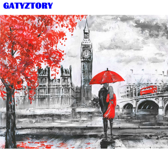 Painting By Numbers London City Scape River Thames Big Ben Lovers Umbrella