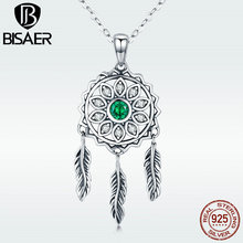 925 Sterling Silver Bohemia Style Feather Pendant Dreamcatcher Chain Pendant Necklace for Women Summer Holiday Jewelry GXN263 classic retro dreamcatcher resizable 925 sterling sivler feather jewelry pendant necklace for women girls fashion accessories