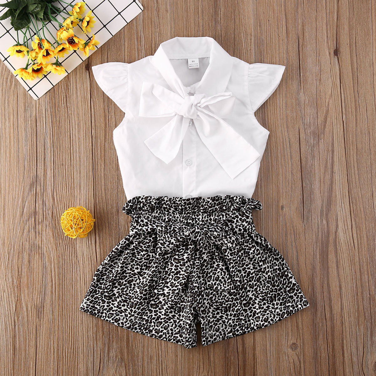 Pudcoco Toddler Baby Girl Clothes Solid Color Sleeveless Vest Shirt Tops Leopard Print Short Pants 2Pcs Outfits Clothes