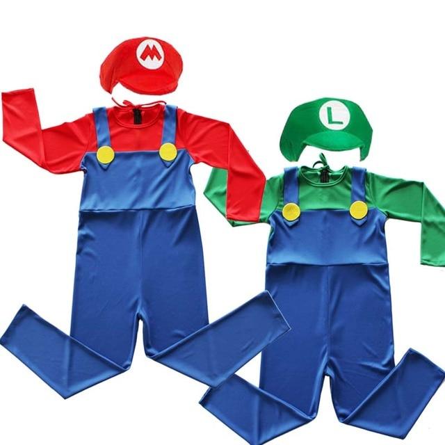 Kids Gamer 80s PLumber Mate Boy Cosplay Fancy Dress Costume Age 3-8 2