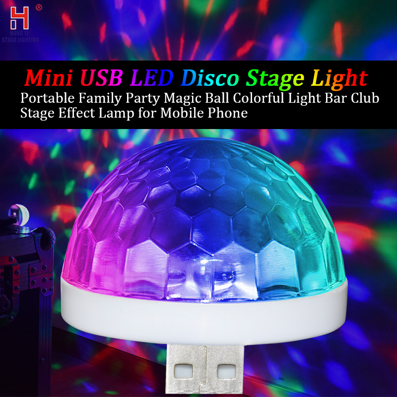 USB Mini Disco Party Lights Halloween DJ Stage Lights-Multicolor Led Car Atmosphere Light Christmas Party Swimming Pool Club