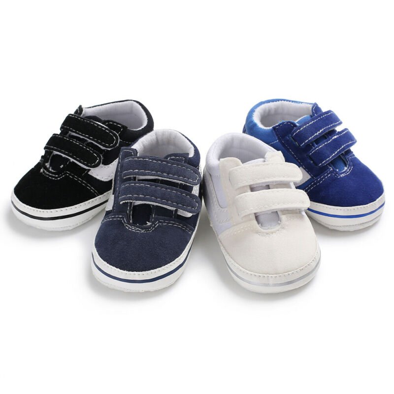 Newborn Baby Boys Pre-Walker Soft Sole Pram Shoes Canvas Sneakers Trainers Baby Casual Shoes
