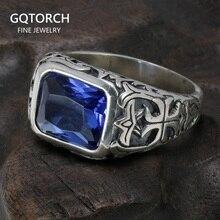 จริงแท้ 925 แหวนเงินชายสีฟ้าหินคริสตัลธรรมชาติMensแหวนVINTAGE Hollowแกะสลักดอกไม้เครื่องประดับFine