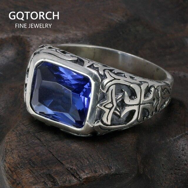 Echt Reine 925 Sterling Silber Ringe Für Männer Blau Natürlichen Kristall Stein Herren Ring Vintage Hohl Eingraviert Blume Edlen Schmuck
