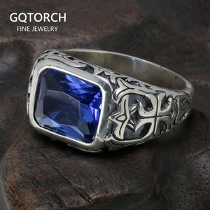 Image 1 - Real Pure 925 Sterling Silver Rings For Men Blue Natural Crystal Stone Mens Ring Vintage Hollow Engraved Flower Fine Jewelry