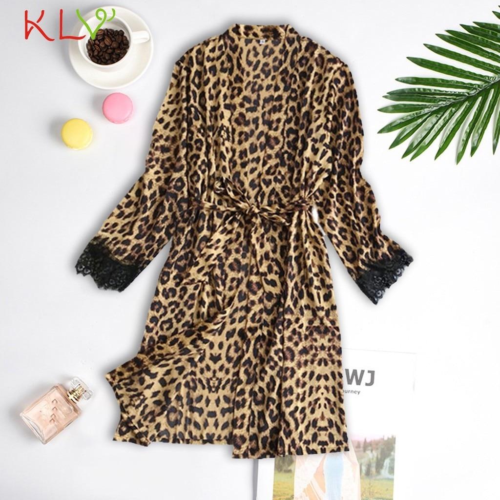 Satin Silk Robes For Women Leopard Print Sexy Robe Femme Bathrobe Sleepwear Long Sleeve Kimono Bata Mujer Gowns Underwear 20jan Aphcro