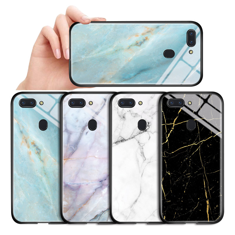 For <font><b>OPPO</b></font> <font><b>A3</b></font> A7 A5S A7X A9X A9 A5 2020 Luxury Marble Color Phone <font><b>Case</b></font> Glossy Tempered <font><b>Glass</b></font> Back Soft Edge Protecti Cover Casing image