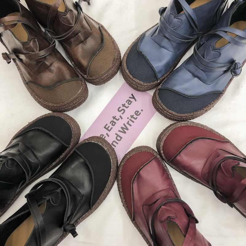 Lasperal Retro kobiety buty moda oryginalne botki buty na płaskim obcasie ze skóry pu buty zapięcie na zamek błyskawiczny okrągłe Toe krótkie buty Zapatos Mujer