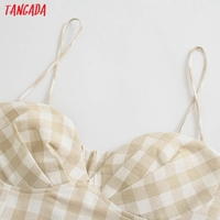 Tangada Women Plaid Print Summer Dress Sleeveless Backless 2021 Summer Fashion Casual Dresses Vestido 4N71 2