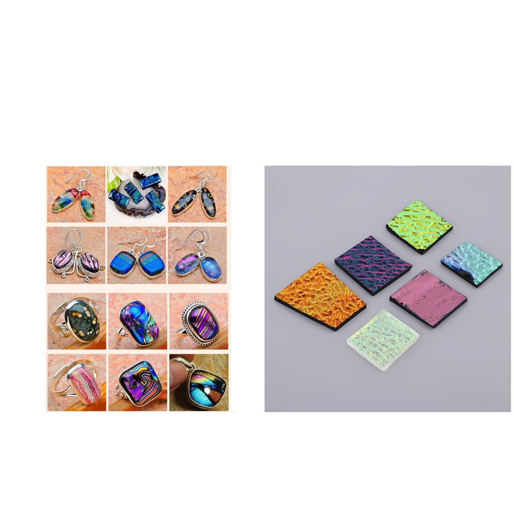 1Oz Dichroic Film Fusing Glass COE 90 Fusible Glass Mixed Scraps For DIY Jewelry Supplies Pendants Charms Making