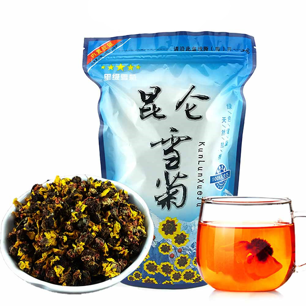 2020 Flower Tea Chinese Kunlun Snow Chrysanthemum Tea Daisy Herbal Tea Dried Flower Blooming Tea For Beauty Health Food 100g