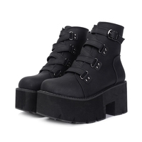 STAN SHARK Spring Autumn Ankle Boots Women Platform Boots Rubber Sole Buckle Black Leather PU High Heels Shoes Woman Comfortable