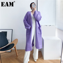 [EAM] Big Size Mohair Long Knitting Cardigan Sweater Loose Fit V-Neck Long Sleeve Women New Fashion Autumn Winter 2021 1DD0674