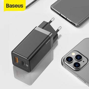 Baseus 65W GaN Charger Dual USB Port Charger Quick Charge 4.0 3.0 Type C PD Fast Phone Charger ForiPhone ForXiaomi Laptop Tablet