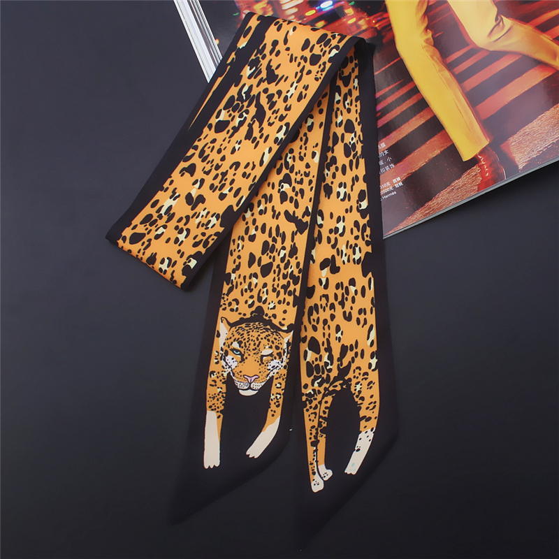 2020 Designer Women Silk Skinny Scarf Animal Print Novelty Female Hair Scarfs Tie Ribbon Bag Scarves Twill Neck Band