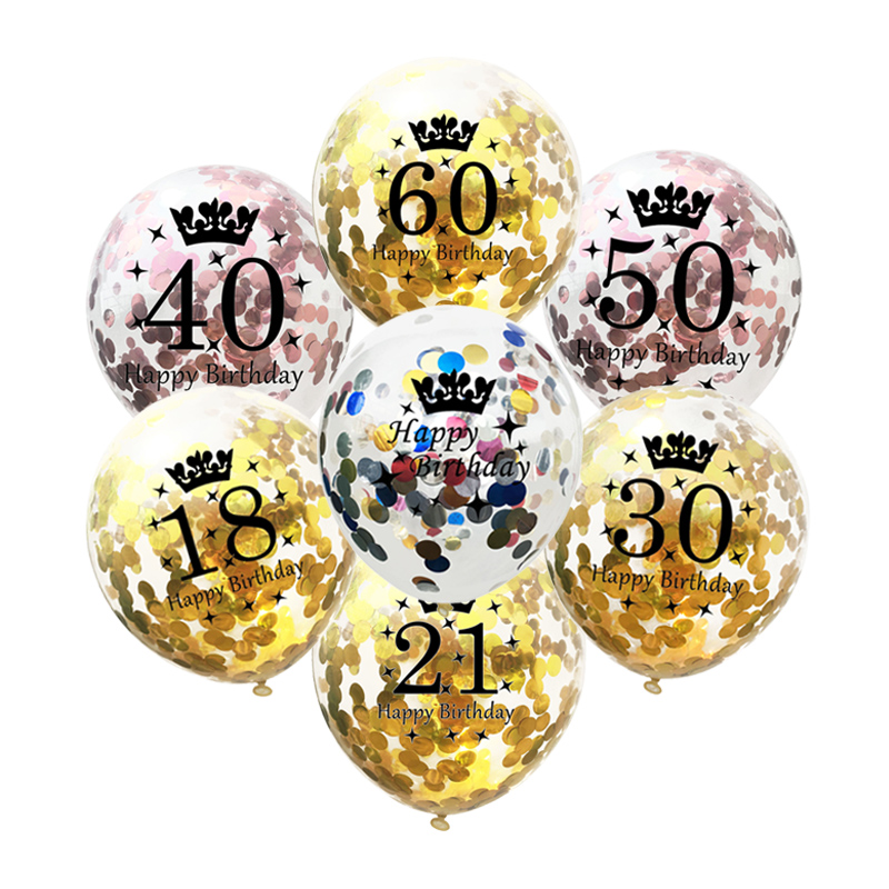 5Pcs 12 Inch Confetti Balloons Latex Gold Black Happy <font><b>Birthday</b></font> Balloons 18 21 <font><b>30</b></font> 40 50 Years Old Anniversary Party <font><b>Decoration</b></font> image