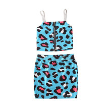 Girls Clothing Sets 2020 New Summer Clothing Sets Kids Clothes Leopard Print Sleeveless T-Shirt+Mini Skirts 2Pcs Suit For 1-6Y цена 2017