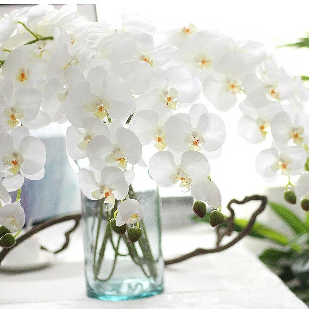 Branco 8 hastes phalaenopsis orquídeas verdadeiro toque flores orquídeas artificiais diy buquês de casamento de seda decoração floral casa