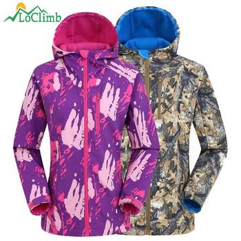 цена на LoClimb Outdoor Softshell Jacket Women Men Trekking/Hiking Jacket Spring Camping Windbreaker Sport Coat Waterproof Jackets AW219