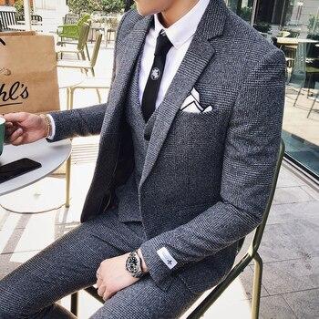 2020 Mens Business Suits Formal Tuxedo Social Suits Mens Casacas Hombre Azul Terno Preto Slim Fit Gray Retro Plaid Suits Mens