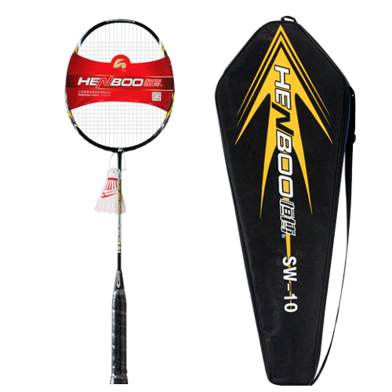 HENBOO Lightweight Badminton Standard Training Badminton Racket And Bag  Set Full Carbon Fiber Durable Sports Equipment SW-10