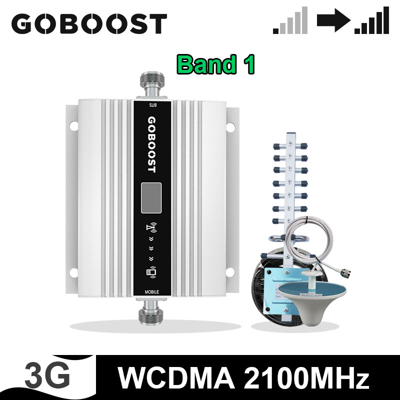 GOBOOST 2100 MHz Signal Booster UTMS 3G Cell Phone Signal Amplifier Repeater Yagi + Ceiling Antenna With 10M Coaxal Cable Set