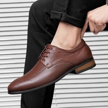 Classic Cow Leather Business Men's Dress Shoes Fashion Elegant Formal Wedding Shoes Men Slip On Office Oxford Shoes For Men
