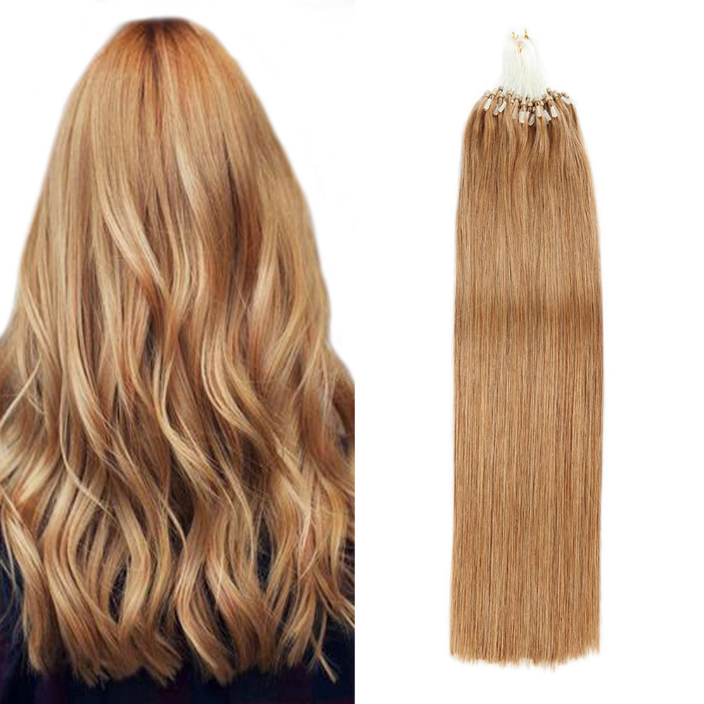 Gazfairy 1g/s 20 Inch 100g Remy Micro Beads Hair Extensions In Micro Ring Links Real Human Hair Platinum Blonde Color Pure Color