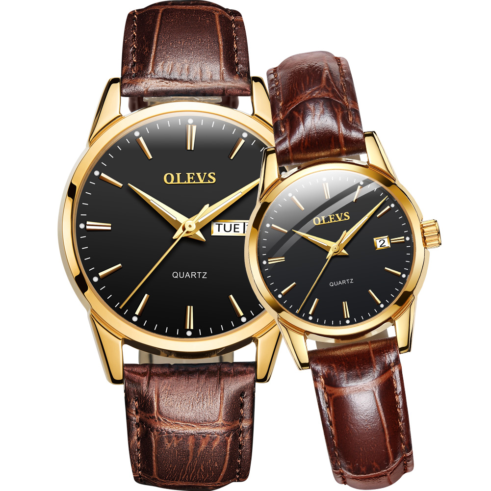 Original Couple Watches Quartz Date Week Brown Leather Wristwatch Luxury Calendar For Lovers Watch Set Fashion For Men Women