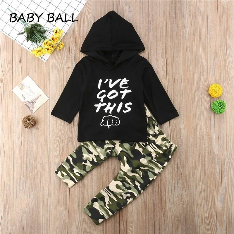 2Pcs Infant Baby Boys Girls Camouflage Hooded Tops+Shorts Clothes Set Outfits