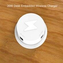 20w qi rápido carregador sem fio embutido desktop carregador de telefone sem fio para iphone samsung huawei mesa cabeceira móveis