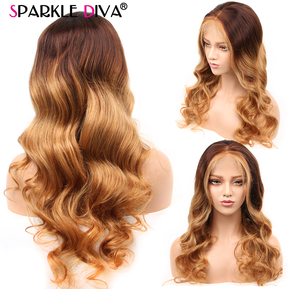 Brazilian Wig 13*4 Lace Front Human Hair Wigs For Women Body Wave #4/27 Ombre Lace Front Wig Remy Human Hair Wigs Pre Plucked