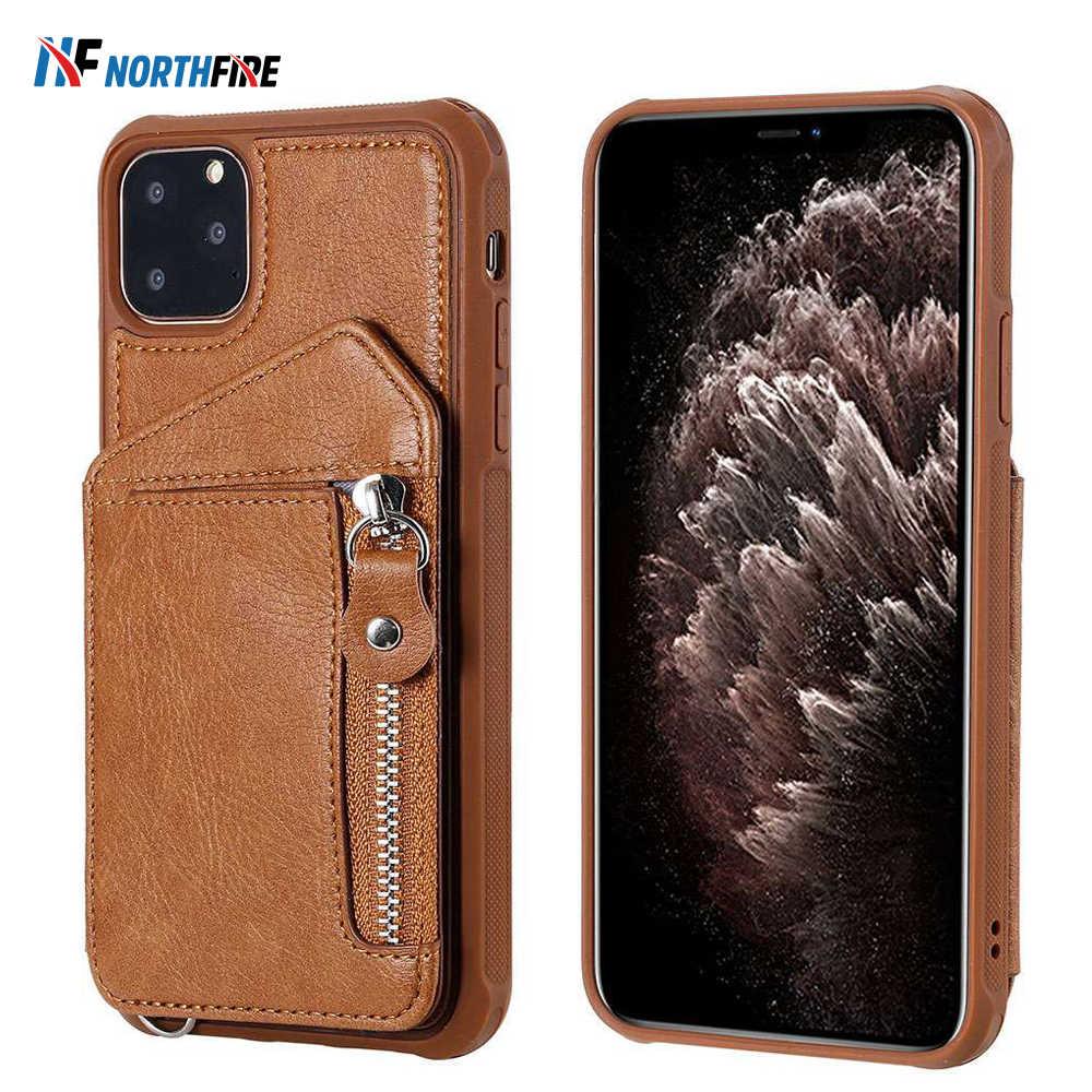 Étui portefeuille d'affaires pour Samsung S10 S9 housse en cuir à glissière pour Samsung Note 8 9 10 Plus S10 S9 S8 Plus avec boucle